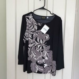 NWT Bob Mackie Wearable Art 3/4 Sleeve Blouse